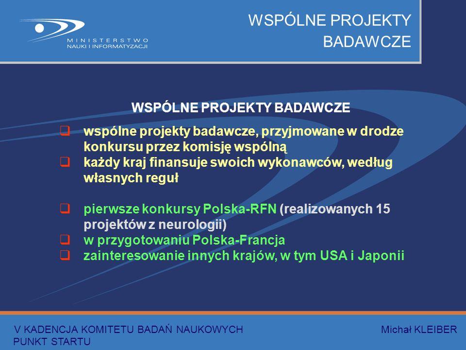 WSPÓLNE PROJEKTY BADAWCZE wspólne projekty badawcze, przyjmowane w drodze konkursu przez komisję wspólną każdy kraj finansuje swoich wykonawców, według własnych reguł pierwsze konkursy Polska-RFN (realizowanych 15 projektów z neurologii) w przygotowaniu Polska-Francja zainteresowanie innych krajów, w tym USA i Japonii V KADENCJA KOMITETU BADAŃ NAUKOWYCH Michał KLEIBER PUNKT STARTU