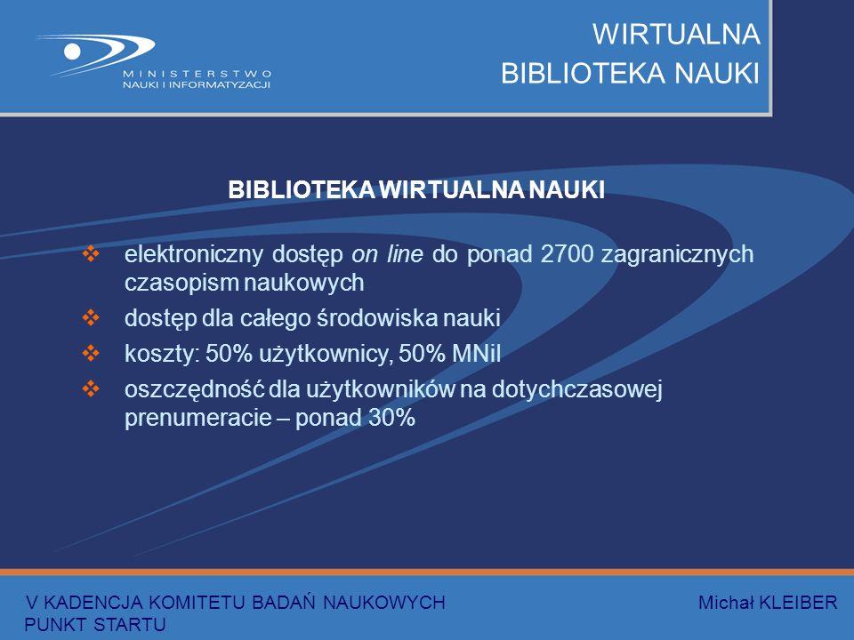 WIRTUALNA BIBLIOTEKA NAUKI BIBLIOTEKA WIRTUALNA NAUKI elektroniczny dostęp on line do ponad 2700 zagranicznych czasopism naukowych dostęp dla całego środowiska nauki koszty: 50% użytkownicy, 50% MNiI oszczędność dla użytkowników na dotychczasowej prenumeracie – ponad 30% V KADENCJA KOMITETU BADAŃ NAUKOWYCH Michał KLEIBER PUNKT STARTU