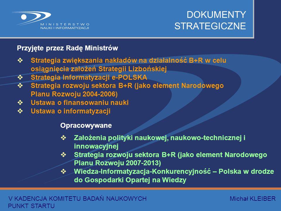 DOKUMENTY STRATEGICZNE Przyjęte przez Radę Ministrów Strategia zwiększania nakładów na działalność B+R w celu osiągnięcia założeń Strategii Lizbońskiej Strategia Informatyzacji e-POLSKA Strategia rozwoju sektora B+R (jako element Narodowego Planu Rozwoju 2004-2006) Ustawa o finansowaniu nauki Ustawa o informatyzacji Opracowywane Założenia polityki naukowej, naukowo-technicznej i innowacyjnej Strategia rozwoju sektora B+R (jako element Narodowego Planu Rozwoju 2007-2013) Wiedza-Informatyzacja-Konkurencyjność – Polska w drodze do Gospodarki Opartej na Wiedzy V KADENCJA KOMITETU BADAŃ NAUKOWYCH Michał KLEIBER PUNKT STARTU