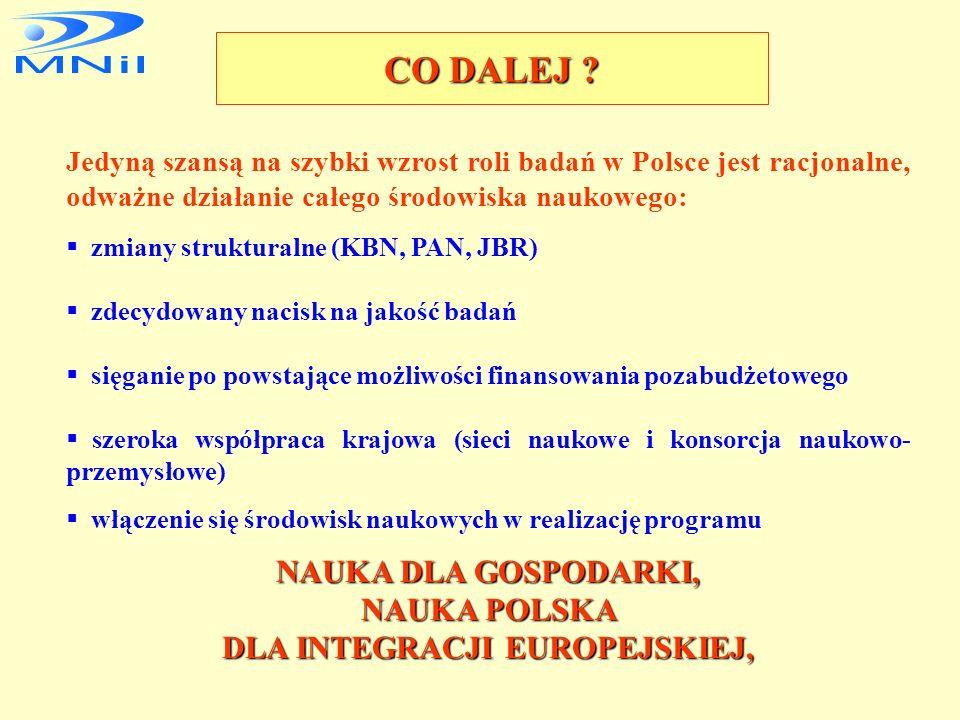 STRATEGICZNE CELE NAUKI POLSKIEJ W PRZEDEDNIU INTEGRACJI Z UE integracja z UE rozwój gospodarki opartej na wiedzy GOW współtworzenie Europejskiej Prze