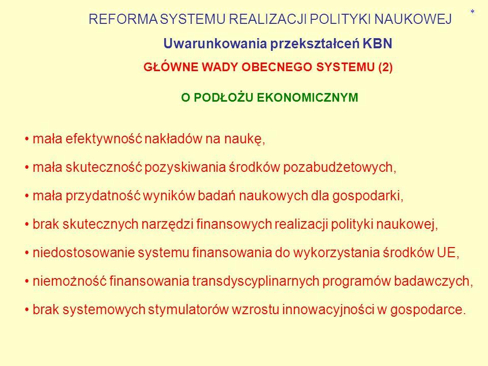 niedostosowanie do typowych zasad funkcjonowania państwa, atomizacja badań naukowych i środowisk naukowych. odmienność systemowa KBN względem innych r