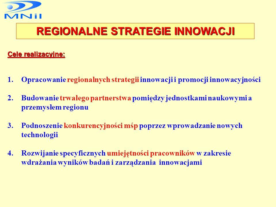 Cele strategiczne: 1.Wyrównywanie różnic międzyregionalnych w poziomie życia i rozwoju gospodarczym 2.Zwiększenie udziału sektora zaawansowanych techn