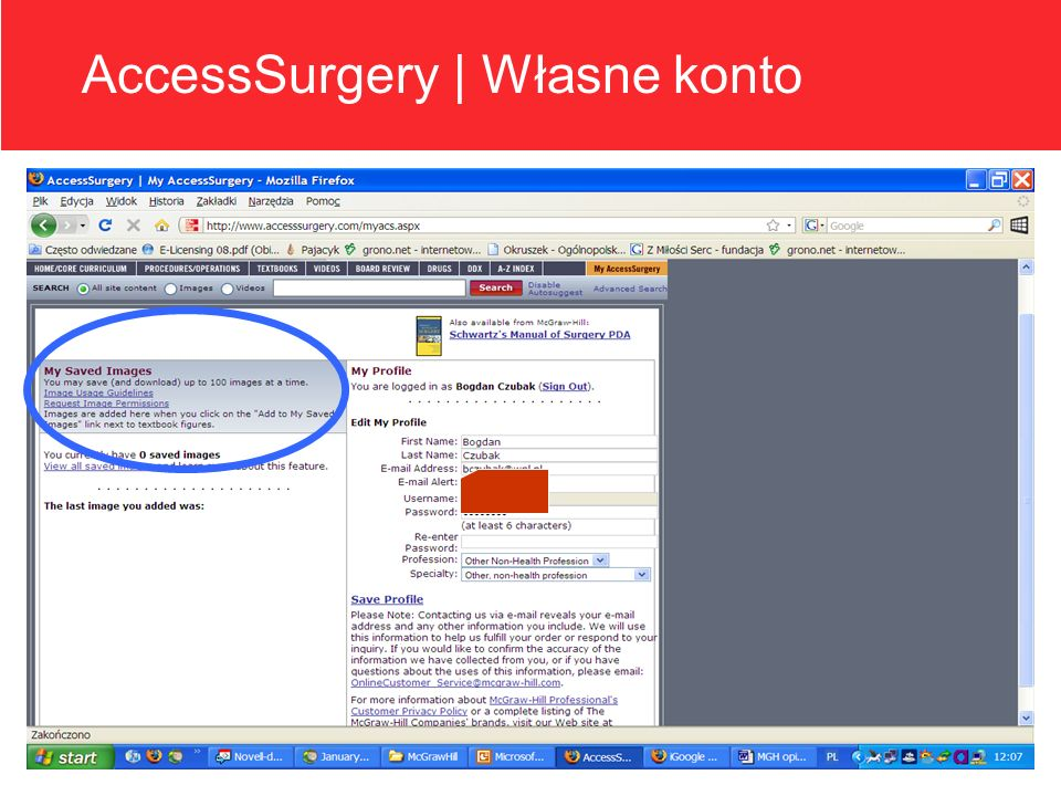 Program directors can track resident progress and generate reports AccessSurgery | Własne konto