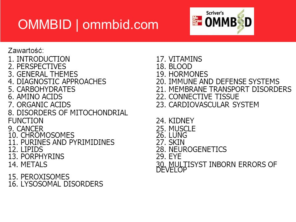 OMMBID | ommbid.com Zawartość: 1. INTRODUCTION17. VITAMINS 2. PERSPECTIVES 18. BLOOD 3. GENERAL THEMES 19. HORMONES 4. DIAGNOSTIC APPROACHES 20. IMMUN