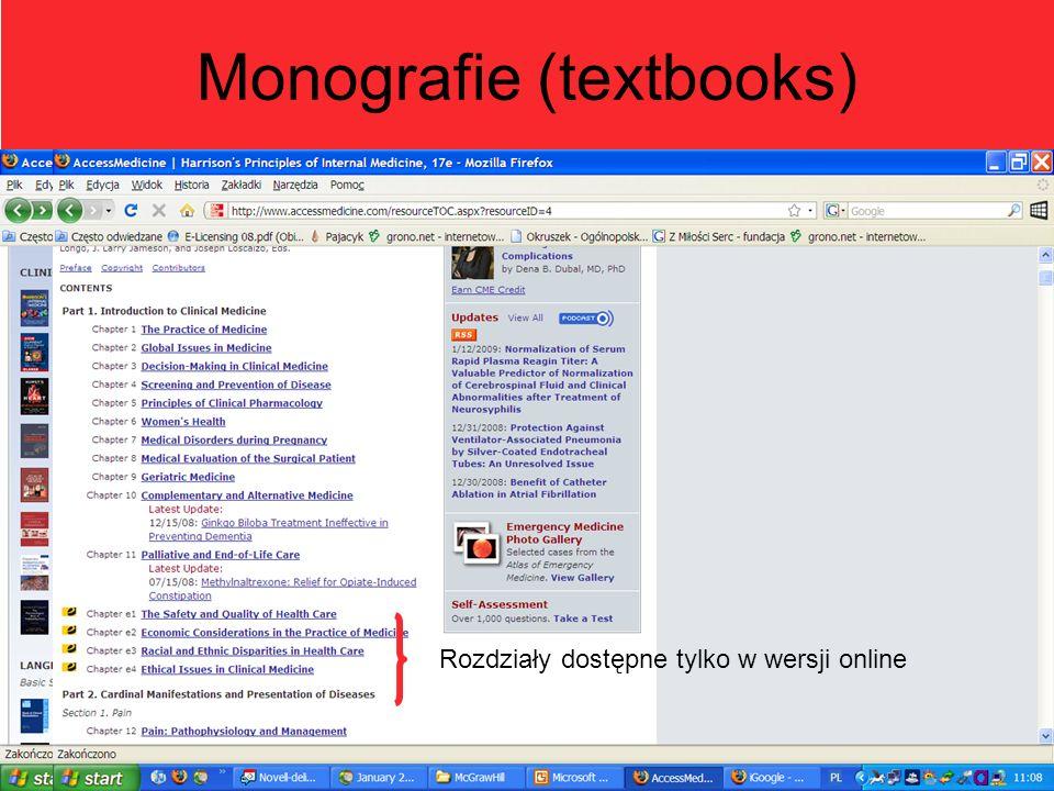 Monografie (textbooks) Rozdziały dostępne tylko w wersji online