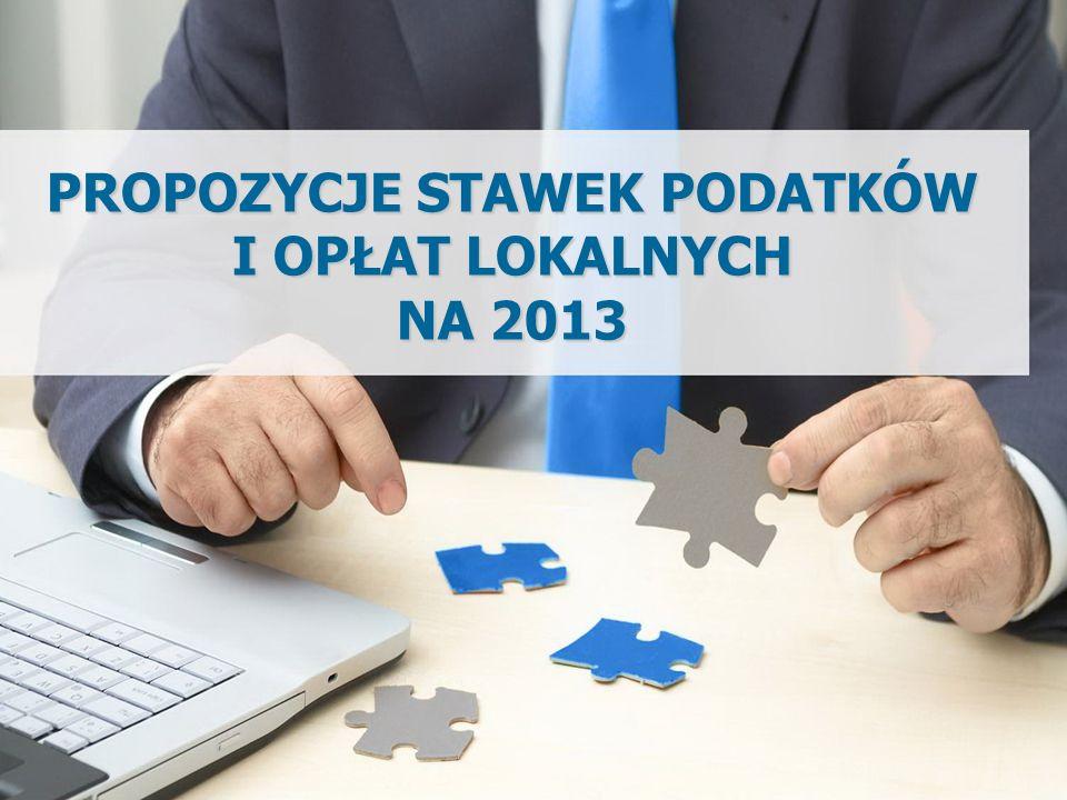WPROWADZENIE Propozycja wzrostu stawek podatków lokalnych na 2013 r.