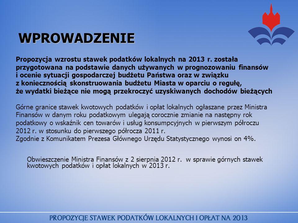 WPROWADZENIE Propozycja wzrostu stawek podatków lokalnych na 2013 r. została przygotowana na podstawie danych używanych w prognozowaniu finansów i oce