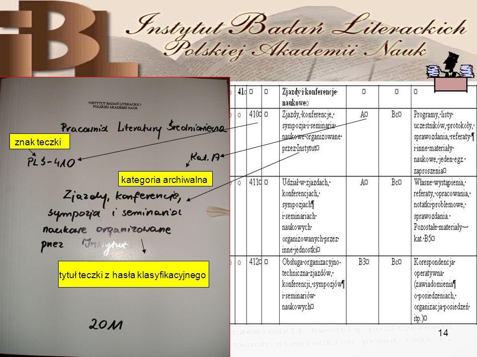 29.11.201014 Elementy opisu teczki tytuł teczki z hasła klasyfikacyjnego znak teczki kategoria archiwalna