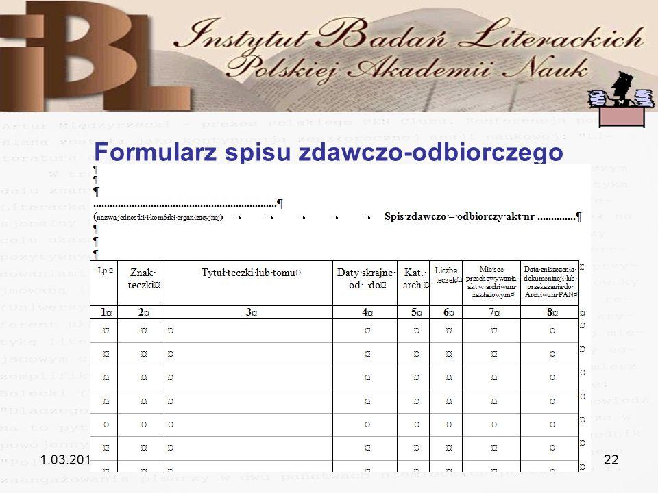 1.03.201122 Formularz spisu zdawczo-odbiorczego