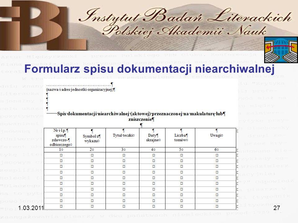 1.03.201127 Formularz spisu dokumentacji niearchiwalnej