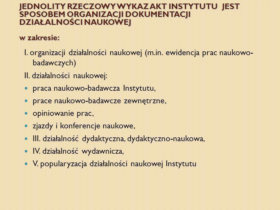 JEDNOLITY RZECZOWY WYKAZ AKT INSTYTUTU JEST SPOSOBEM ORGANIZACJI DOKUMENTACJI DZIAŁALNOŚCI NAUKOWEJ w zakresie: I. organizacji działalności naukowej (