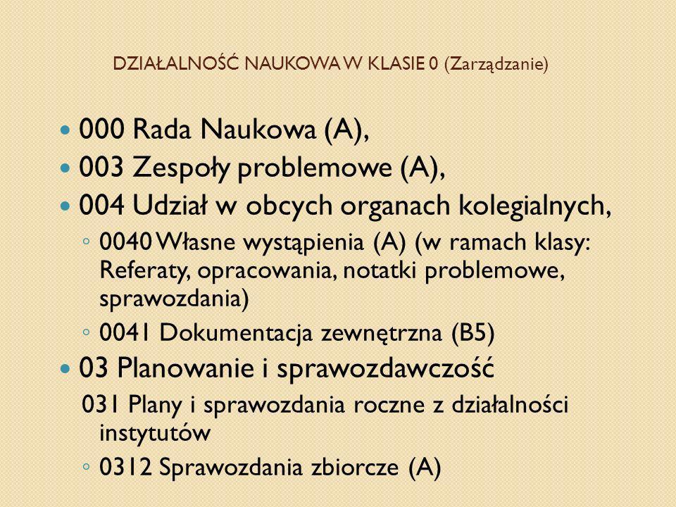 DZIAŁALNOŚĆ NAUKOWA W KLASIE 0 (Zarządzanie) 000 Rada Naukowa (A), 003 Zespoły problemowe (A), 004 Udział w obcych organach kolegialnych, 0040 Własne