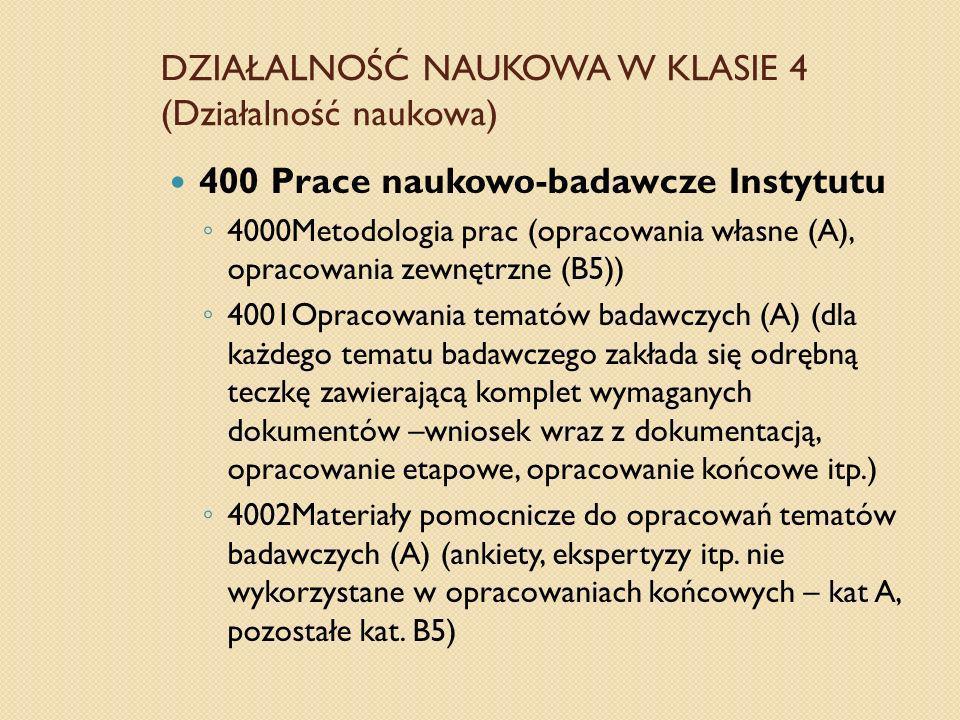DZIAŁALNOŚĆ NAUKOWA W KLASIE 4 (Działalność naukowa) 400 Prace naukowo-badawcze Instytutu 4000Metodologia prac (opracowania własne (A), opracowania ze