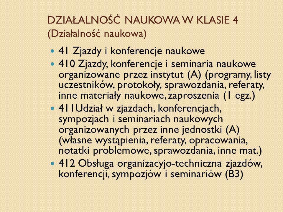DZIAŁALNOŚĆ NAUKOWA W KLASIE 4 (Działalność naukowa) 41 Zjazdy i konferencje naukowe 410 Zjazdy, konferencje i seminaria naukowe organizowane przez in