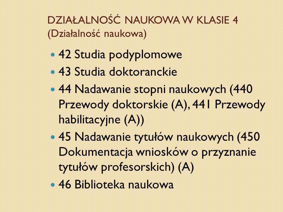 DZIAŁALNOŚĆ NAUKOWA W KLASIE 4 (Działalność naukowa) 42 Studia podyplomowe 43 Studia doktoranckie 44 Nadawanie stopni naukowych (440 Przewody doktorsk