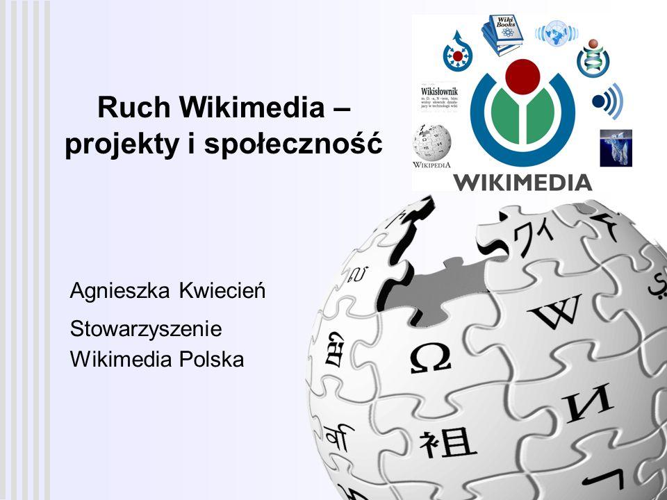 Ruch Wikimedia – projekty i społeczność 12 Społeczność Wikipedii - osobowości użytkownicy budują swój wizerunek i zdobywają zaufanie innych poprzez wkład jaki wnoszą w rozwój projektu bardzo szeroki zakres osobowości, zainteresowań, zachowań typy osobowości w Wikipedii: mrówki kultywatorzy społeczności policjanci, tropiciele wandalizmu organizatorzy sprzątacze szukający konfliktu wandale trolle