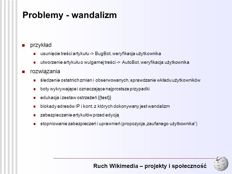 Ruch Wikimedia – projekty i społeczność 14 Problemy - wandalizm przykład usunięcie treści artykułu -> BugBot, weryfikacja użytkownika utworzenie artyk