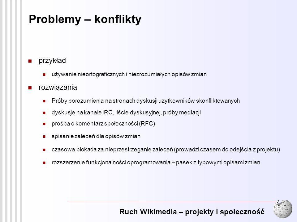 Ruch Wikimedia – projekty i społeczność 17 Problemy – konflikty przykład używanie nieortograficznych i niezrozumiałych opisów zmian rozwiązania Próby