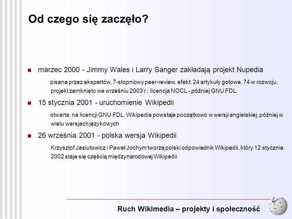 Ruch Wikimedia – projekty i społeczność 4 20 marca 2003 - powstaje Wikimedia Foundation F undacja sprawuje opiekę nad Wikipedią i powstałymi wokół niej projektami opartymi o technologię Wiki.