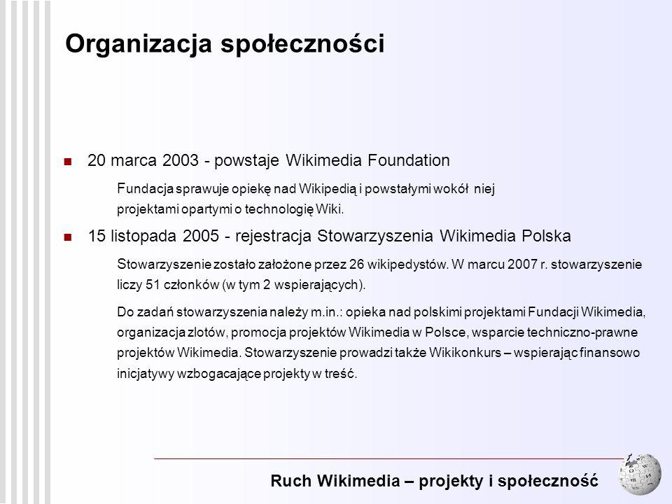 Ruch Wikimedia – projekty i społeczność 4 20 marca 2003 - powstaje Wikimedia Foundation F undacja sprawuje opiekę nad Wikipedią i powstałymi wokół nie