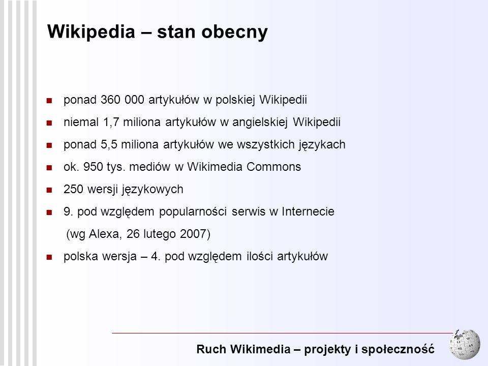 Ruch Wikimedia – projekty i społeczność 6 Wikipedia – stan obecny ponad 360 000 artykułów w polskiej Wikipedii niemal 1,7 miliona artykułów w angielsk