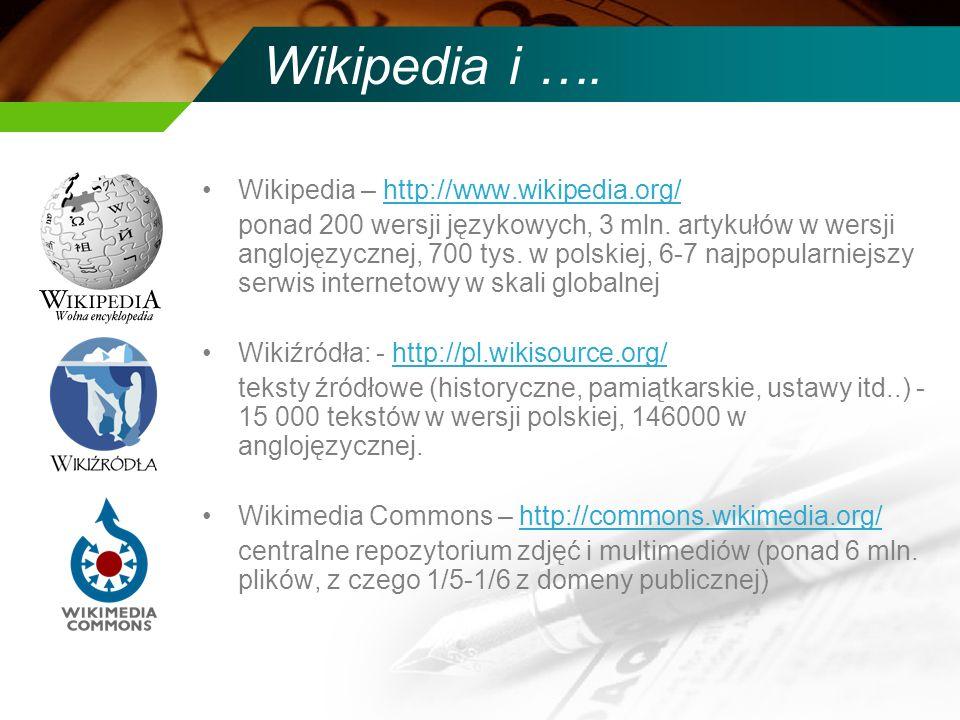 Wikipedia i …. Wikipedia – http://www.wikipedia.org/http://www.wikipedia.org/ ponad 200 wersji językowych, 3 mln. artykułów w wersji anglojęzycznej, 7
