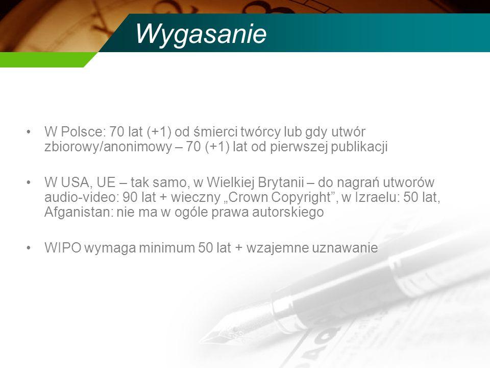 Wygasanie W Polsce: 70 lat (+1) od śmierci twórcy lub gdy utwór zbiorowy/anonimowy – 70 (+1) lat od pierwszej publikacji W USA, UE – tak samo, w Wielk
