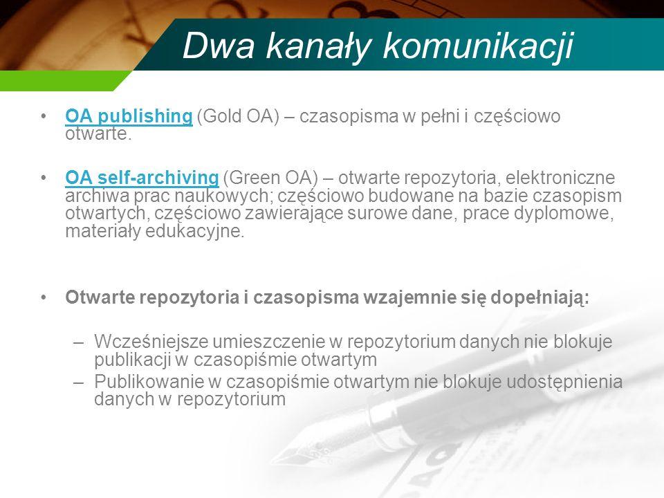 Dwa kanały komunikacji OA publishing (Gold OA) – czasopisma w pełni i częściowo otwarte.OA publishing OA self-archiving (Green OA) – otwarte repozytoria, elektroniczne archiwa prac naukowych; częściowo budowane na bazie czasopism otwartych, częściowo zawierające surowe dane, prace dyplomowe, materiały edukacyjne.OA self-archiving Otwarte repozytoria i czasopisma wzajemnie się dopełniają: –Wcześniejsze umieszczenie w repozytorium danych nie blokuje publikacji w czasopiśmie otwartym –Publikowanie w czasopiśmie otwartym nie blokuje udostępnienia danych w repozytorium