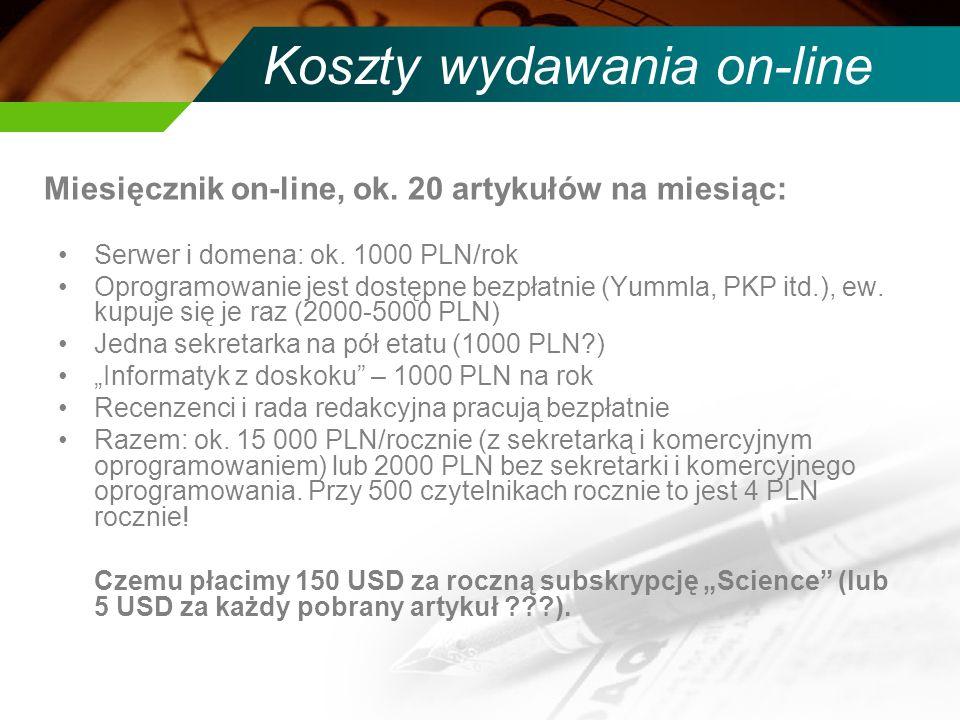 Koszty wydawania on-line Serwer i domena: ok.