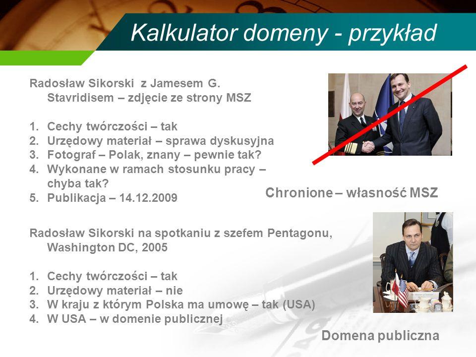 Kalkulator domeny - przykład Radosław Sikorski z Jamesem G.
