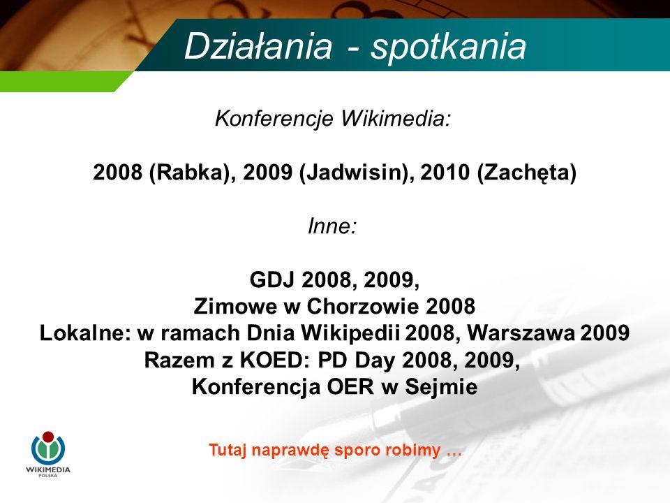 Działania - spotkania Konferencje Wikimedia: 2008 (Rabka), 2009 (Jadwisin), 2010 (Zachęta) Inne: GDJ 2008, 2009, Zimowe w Chorzowie 2008 Lokalne: w ramach Dnia Wikipedii 2008, Warszawa 2009 Razem z KOED: PD Day 2008, 2009, Konferencja OER w Sejmie Tutaj naprawdę sporo robimy …