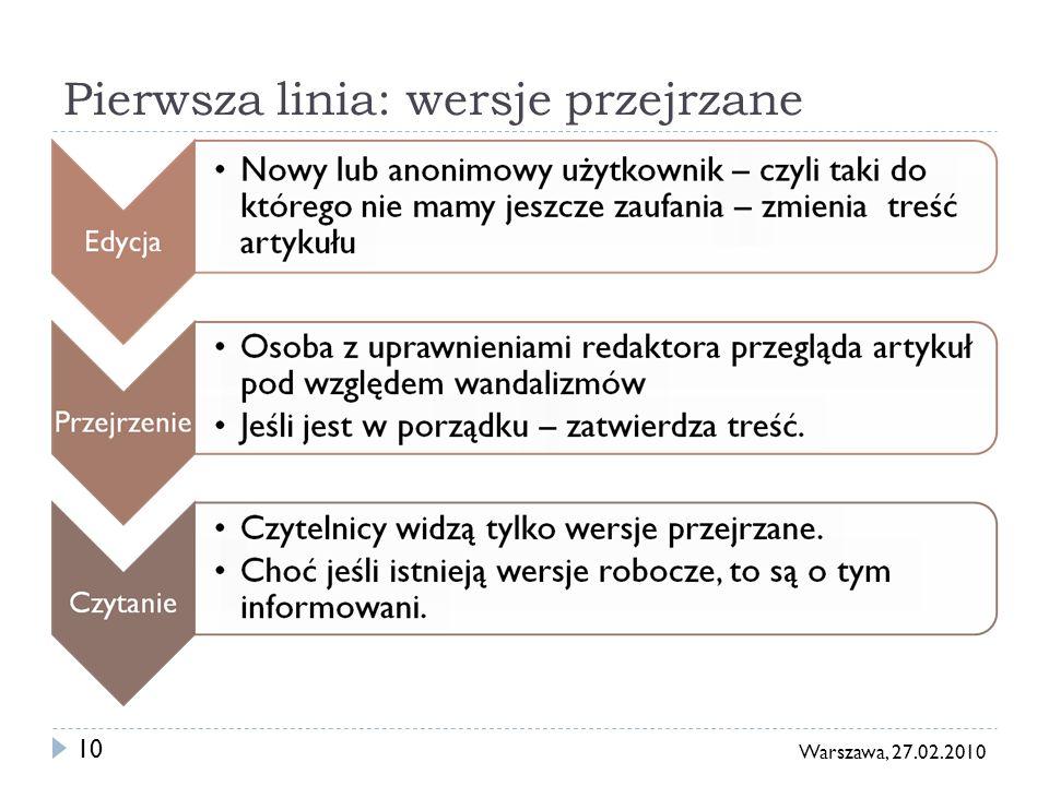 11 Warszawa, 27.02.2010 Wersje przejrzane w praktyce