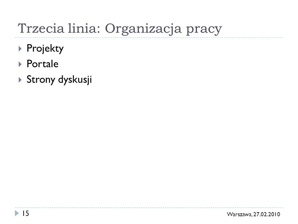 15 Warszawa, 27.02.2010 Trzecia linia: Organizacja pracy Projekty Portale Strony dyskusji