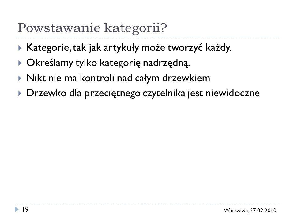 19 Warszawa, 27.02.2010 Powstawanie kategorii. Kategorie, tak jak artykuły może tworzyć każdy.