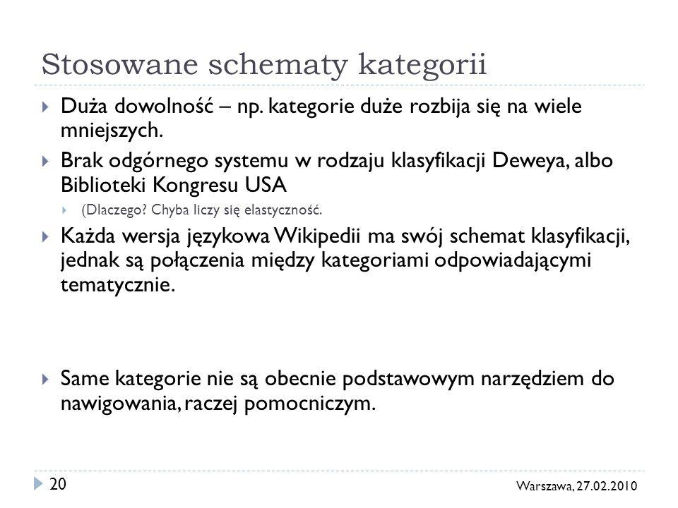 20 Warszawa, 27.02.2010 Stosowane schematy kategorii Duża dowolność – np. kategorie duże rozbija się na wiele mniejszych. Brak odgórnego systemu w rod