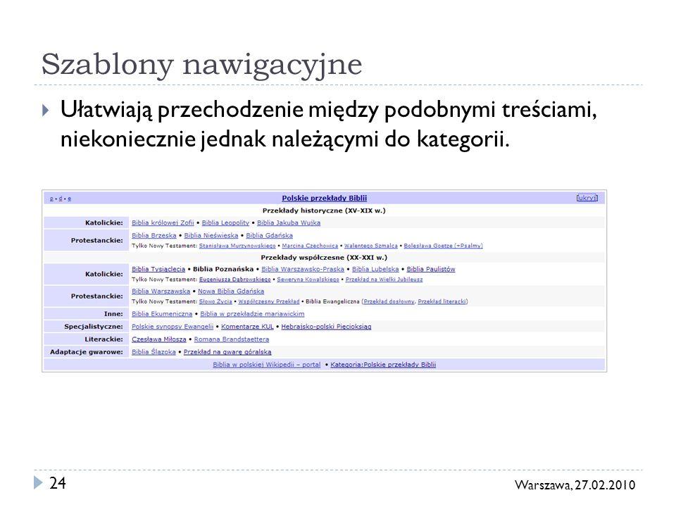 24 Warszawa, 27.02.2010 Szablony nawigacyjne Ułatwiają przechodzenie między podobnymi treściami, niekoniecznie jednak należącymi do kategorii.