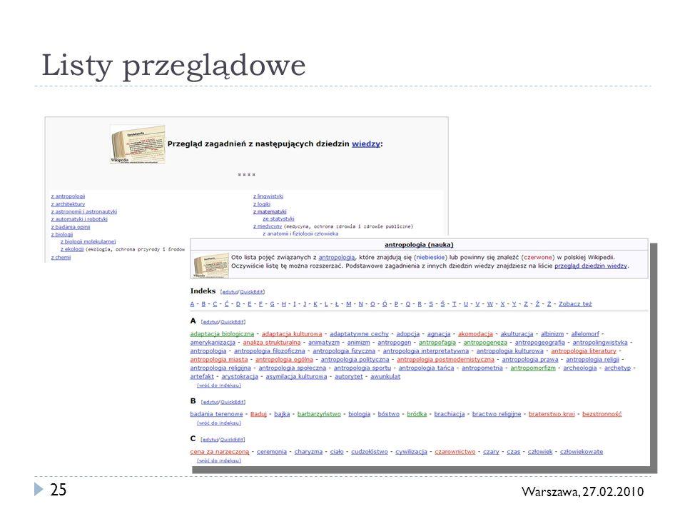 26 Warszawa, 27.02.2010 Indeksy Haseł, biografii, kategorii