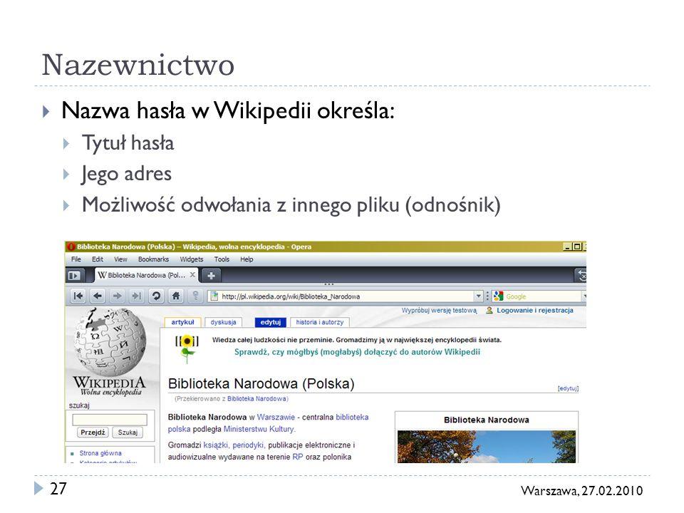 27 Warszawa, 27.02.2010 Nazewnictwo Nazwa hasła w Wikipedii określa: Tytuł hasła Jego adres Możliwość odwołania z innego pliku (odnośnik)