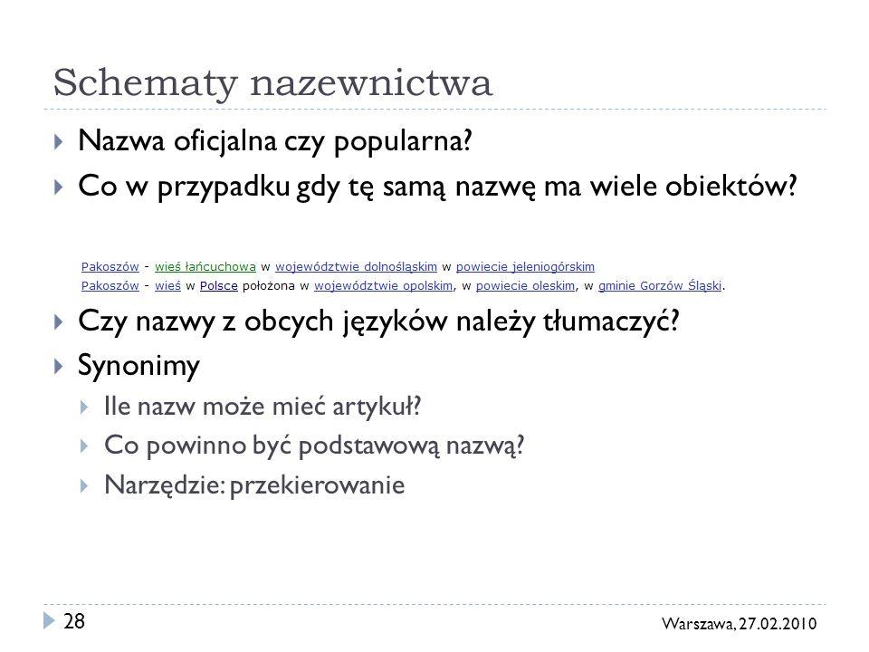 28 Warszawa, 27.02.2010 Schematy nazewnictwa Nazwa oficjalna czy popularna? Co w przypadku gdy tę samą nazwę ma wiele obiektów? Czy nazwy z obcych jęz