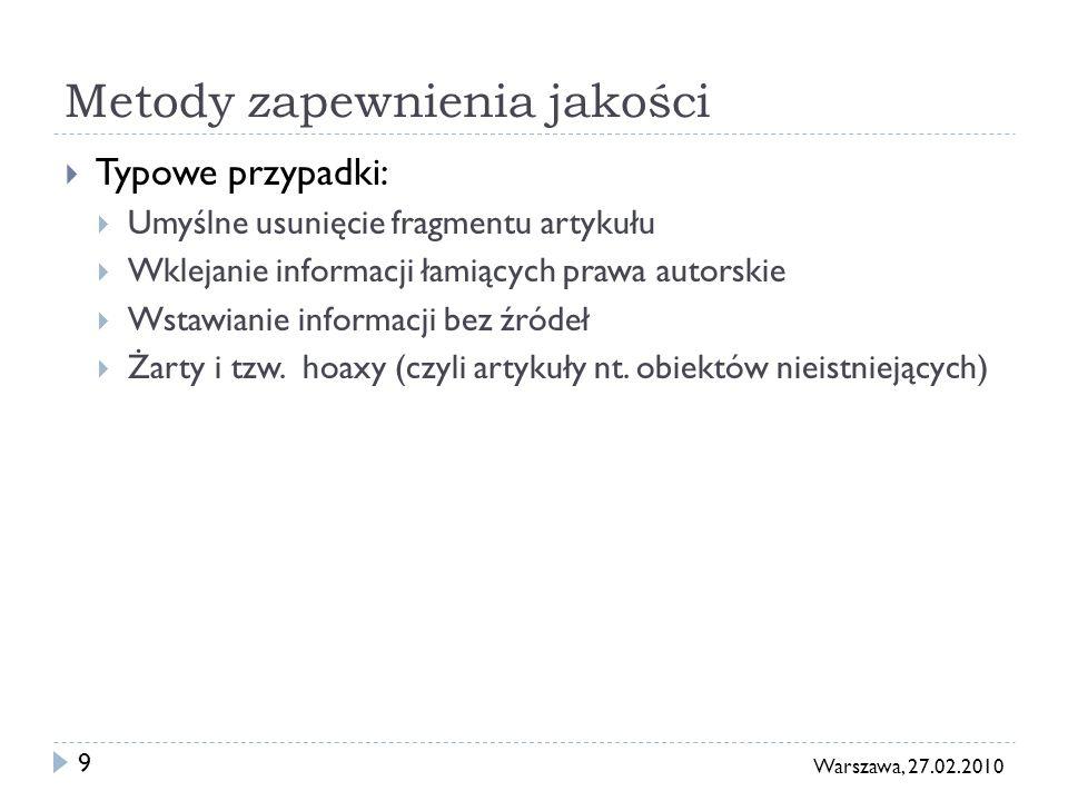 10 Warszawa, 27.02.2010 Pierwsza linia: wersje przejrzane