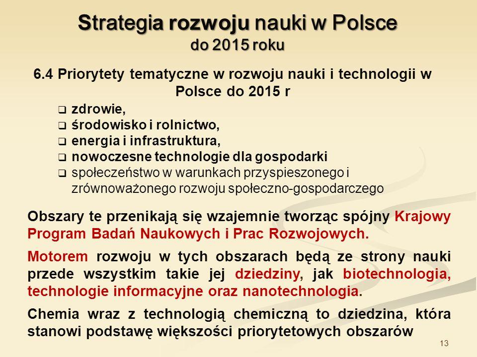 13 S trategi a rozwoju nauki w Polsce do 2015 roku Obszary te przenikają się wzajemnie tworząc spójny Krajowy Program Badań Naukowych i Prac Rozwojowy