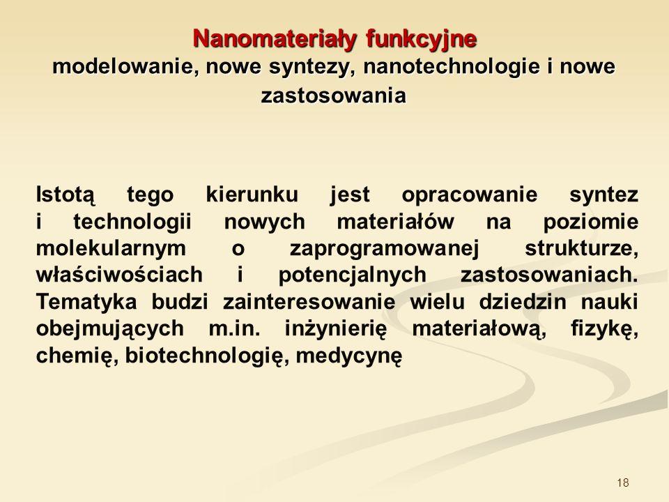 18 Nanomateriały funkcyjne modelowanie, nowe syntezy, nanotechnologie i nowe zastosowania Istotą tego kierunku jest opracowanie syntez i technologii n