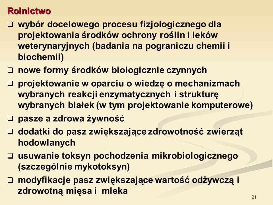 21 Rolnictwo wybór docelowego procesu fizjologicznego dla projektowania środków ochrony roślin i leków weterynaryjnych (badania na pograniczu chemii i