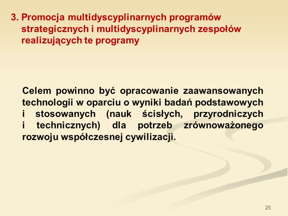 25 3. Promocja multidyscyplinarnych programów strategicznych i multidyscyplinarnych zespołów realizujących te programy Celem powinno być opracowanie z