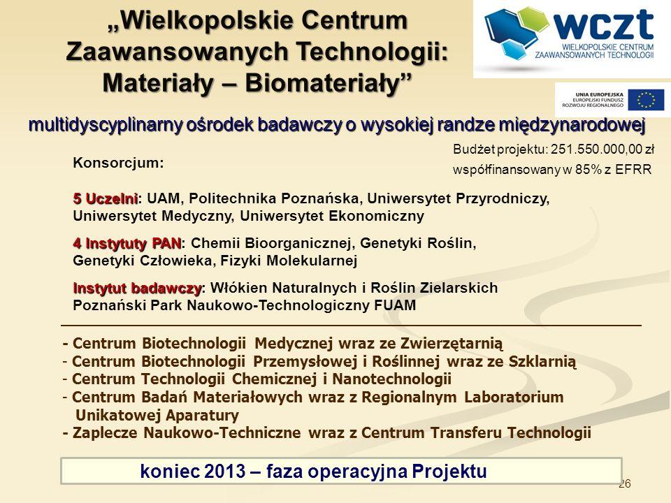 26 Konsorcjum: 5 Uczelni: 5 Uczelni: UAM, Politechnika Poznańska, Uniwersytet Przyrodniczy, Uniwersytet Medyczny, Uniwersytet Ekonomiczny 4 Instytuty