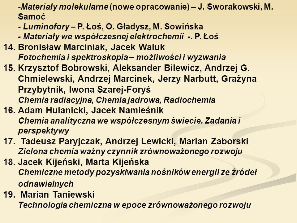 -Materiały molekularne (nowe opracowanie) – J. Sworakowski, M. Samoć - Luminofory – P. Łoś, O. Gładysz, M. Sowińska - Materiały we współczesnej elektr