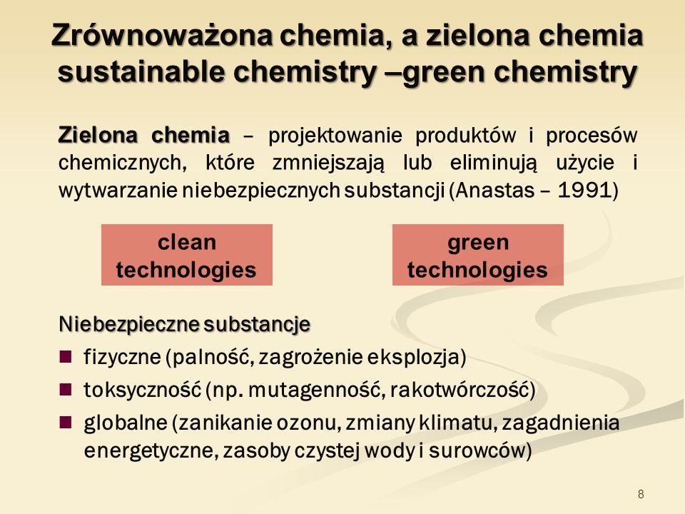 8 Zielona chemia Zielona chemia – projektowanie produktów i procesów chemicznych, które zmniejszają lub eliminują użycie i wytwarzanie niebezpiecznych