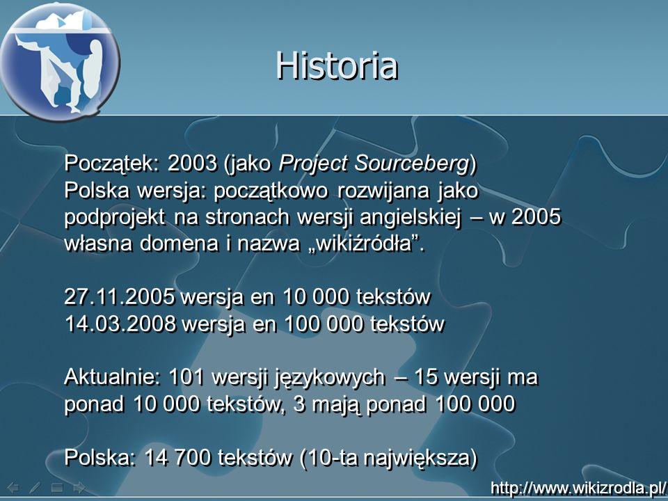 Historia Początek: 2003 (jako Project Sourceberg) Polska wersja: początkowo rozwijana jako podprojekt na stronach wersji angielskiej – w 2005 własna domena i nazwa wikiźródła.