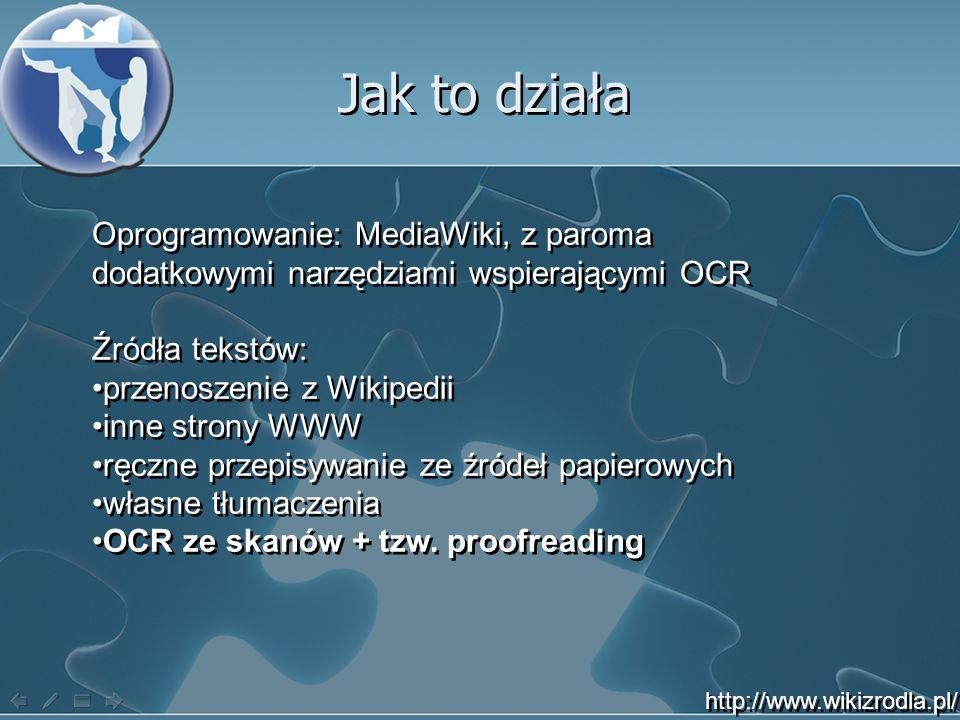 Jak to działa Oprogramowanie: MediaWiki, z paroma dodatkowymi narzędziami wspierającymi OCR Źródła tekstów: przenoszenie z Wikipedii inne strony WWW ręczne przepisywanie ze źródeł papierowych własne tłumaczenia OCR ze skanów + tzw.