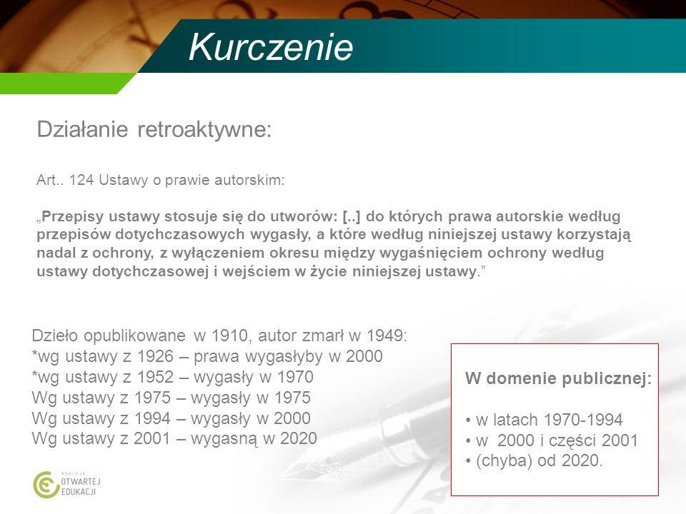 Kurczenie Działanie retroaktywne: Art.. 124 Ustawy o prawie autorskim: Przepisy ustawy stosuje się do utworów: [..] do których prawa autorskie według